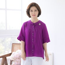 마담4060 엄마옷 카라핀턱린넨셔츠 QBL906021