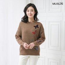 엄마옷 모슬린 포인트 나비 니트 티셔츠 TS910064