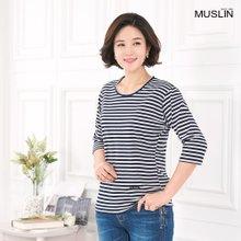 [엄마옷 모슬린] 보더7부 라운드 티셔츠 TS003209