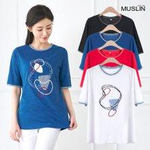 엄마옷 모슬린 동그라미 도형 라운드 티셔츠 TS005313
