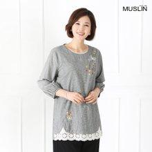 엄마옷 모슬린 꽃레이스 데일리 면티셔츠 TS904048