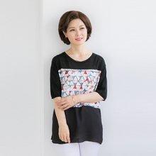 마담4060 엄마옷 육각퍼즐티셔츠 QTE905009