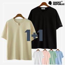 [1+1] 구김걱정NO! 라운드 티셔츠+앞트임 티셔츠 ~120size