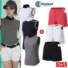 여성코디 [클리브랜드골프] 싱글스판 여성 민소매티셔츠 + 컬러배색 골프 반바지_CG250620