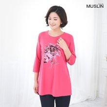 엄마옷 모슬린 플라워프린팅 라운드 티셔츠 TS003020