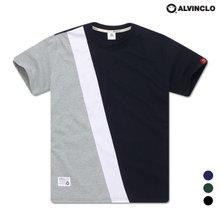 [앨빈클로]AST-3511 사선배색 반팔 티셔츠