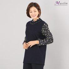 플라워 프릴티셔츠 -TS8030128-모슬린 엄마옷 마담