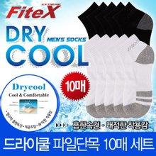 [FiteX]피트엑스 드라이쿨 파일 단목 남성양말 10매입/스포츠양말