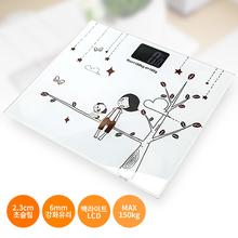 [무료배송] 일러스트 디지털 체중계,백라이트LCD & 최대 180kg까지 측정가능,2.3cm 초슬림 체중계
