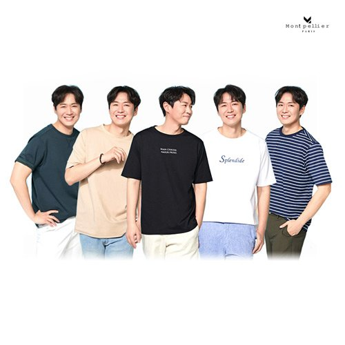 [몽펠리에] 19SS 남성 라이블리 썸머 코튼 레터링 티 컬렉션 5종 (With 연정훈)