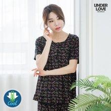 쿨 냉감 여성 반팔상하 블랙잔디꽃 택1