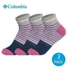 컬럼비아 여성 링글 바닥배색 발목양말 3P_GY