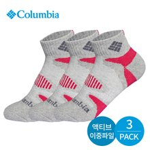 컬럼비아 여성 이중파일 삼각밴딩 발목양말 3P_GY