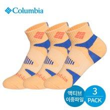 컬럼비아 여성 이중파일 삼각밴딩 발목양말 3P_OR