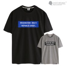 고스트리퍼블릭 블루 스퀘어 레터링 반팔 티셔츠 GT-3120