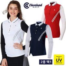 [클리브랜드골프] 플리츠넥 썬가드 여성 골프 긴팔티셔츠 균일가 2종 택1/골프웨어_CG244566