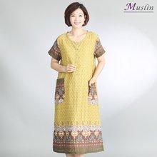 면꽃패턴앞단추 홈드레스 -HW0089- 모슬린 엄마옷