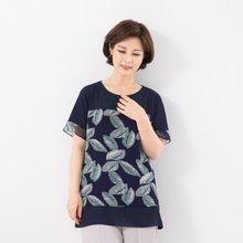 마담4060 엄마옷 나뭇잎패턴티셔츠 QTE906052
