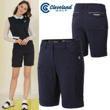 [클리브랜드골프] 스트라이프 허리밴딩 여성 4부 골프 반바지/골프웨어_CGKWPT099