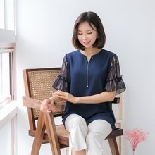 마담4060 엄마옷 은줄진주블라우스 QBL906015