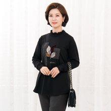 마담4060 엄마옷 낙엽레이스폴라티셔츠-ZTE910112-