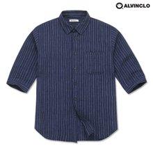 [앨빈클로] ASH-1201 린넨 7부 스트라이프 셔츠