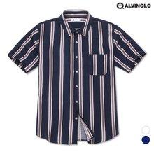 [앨빈클로] ASH-1207 티킹 스트라이프 오버핏 반팔 셔츠