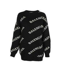 [발렌시아가]20SS 555273 T1471 1070 여성 풀오버 로고 스웨터 블랙