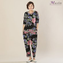면블랙바탕꽃 상하세트홈웨어 -HS1082-모슬린 엄마옷