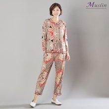 면기하학나염 상하세트홈웨어 -HS1083-모슬린 엄마옷