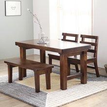 소나무 통원목 4인용식탁 (등받이의자2개+긴의자1개)