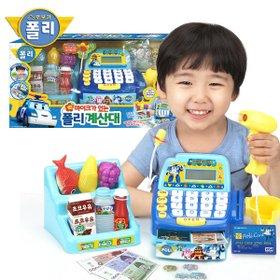 [로보카폴리] 폴리마이크가있는계산대 / 계산기능 계산대+진열대+동전+카드+주방놀이 소품