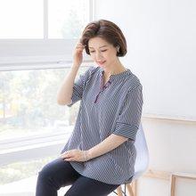 마담4060 엄마옷 배색스트라이프블라우스 QBL906032