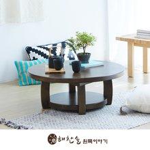 해찬솔 소나무 통원목 원형 원목좌탁 800_엔틱/좌식테이블/거실테이블/원목테이블/소파테이블
