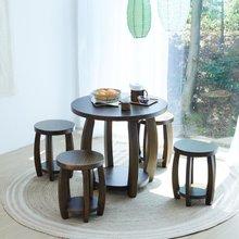 해찬솔 소나무 통원목 원형 원목식탁 세트 800/의자포함/카페테이블/원목테이블/원탁