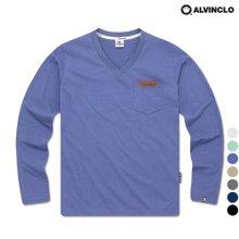 [앨빈클로] 무지 포켓 베이직 레더 V넥 티셔츠 VNK_907 남자 여자 단체 커플룩