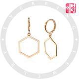18K 육각 아이콘 원터치 귀걸이_HOENOV8901