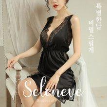 셀레니브3211A 헤미테아 여성 섹시 실크 슬립 2종세트