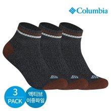 컬럼비아 남성 액티브 이중파일 넥라인 배색 발목양말 3P_BK