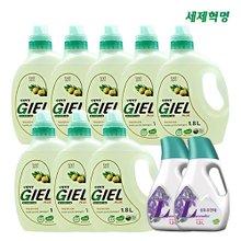 [세제혁명] NEW GIEL PLUS 액체세제 지엘(1.8LX8통)+섬유유연제(1.3LX2통)