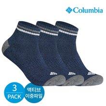 컬럼비아 남성 액티브 이중파일 넥라인 배색 발목양말 3P_NY