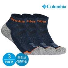 컬럼비아 남성 액티브 이중파일 바닥배색 발목양말 3P_NY
