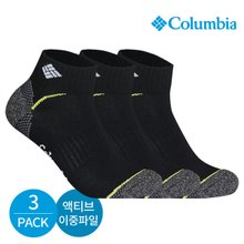 컬럼비아 남성 액티브 이중파일 라인컬러 발목양말 3P_BK
