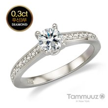 [타뮤즈] 14K 우신 3부 다이아몬드-시크릿-D2019R-화이트골드-결혼반지-프로포즈