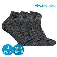 컬럼비아 남성 액티브 이중파일 바닥라인 발목양말 3P_DG