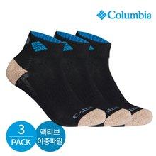 컬럼비아 남성 액티브 이중파일 넥인컬러 발목양말 3P_BK