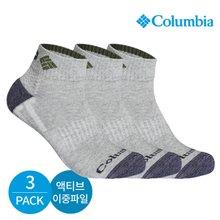 컬럼비아 남성 액티브 이중파일 넥인컬러 발목양말 3P_GY