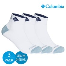 컬럼비아 남성 액티브 이중파일 넥인컬러 발목양말 3P_WH