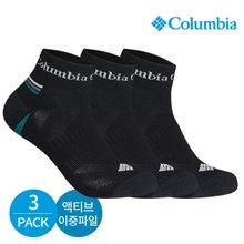 컬럼비아 남성 액티브 이중파일 넥라인 로고 발목양말 3P_BK