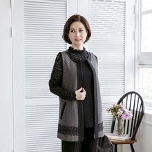 마담4060 엄마옷 레이스배색지퍼조끼 ZVE001014